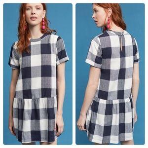 Maeve Anthro Halle Drop Waist Gingham Mini Dress